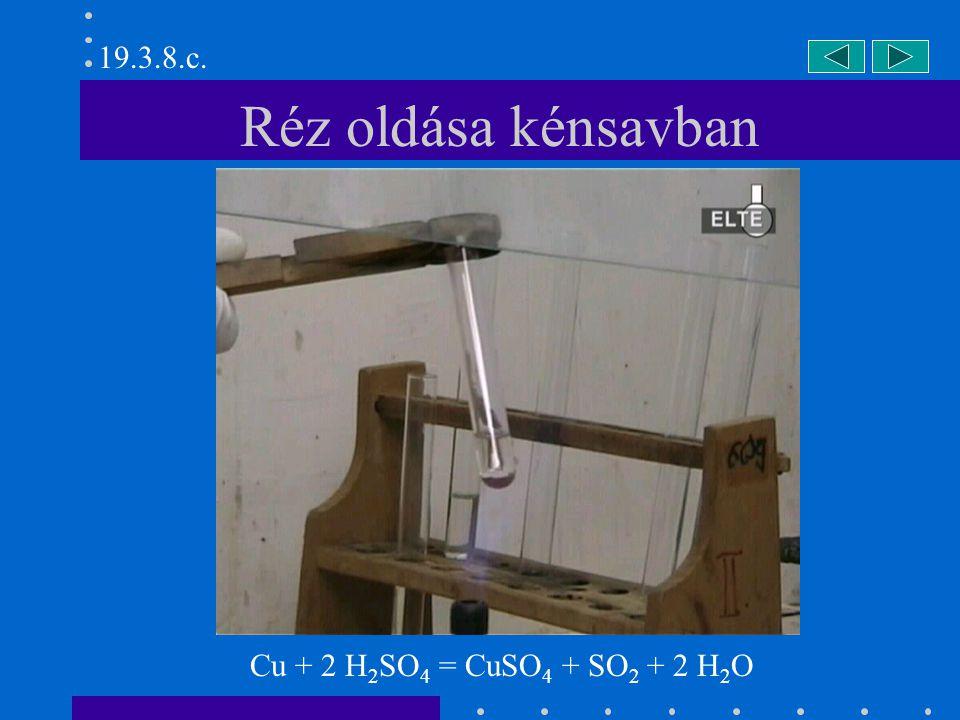 19.3.8.c. Réz oldása kénsavban Cu + 2 H2SO4 = CuSO4 + SO2 + 2 H2O