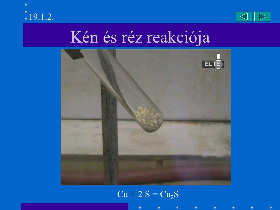 19.1.2. Kén és réz reakciója Cu + 2 S = Cu2S