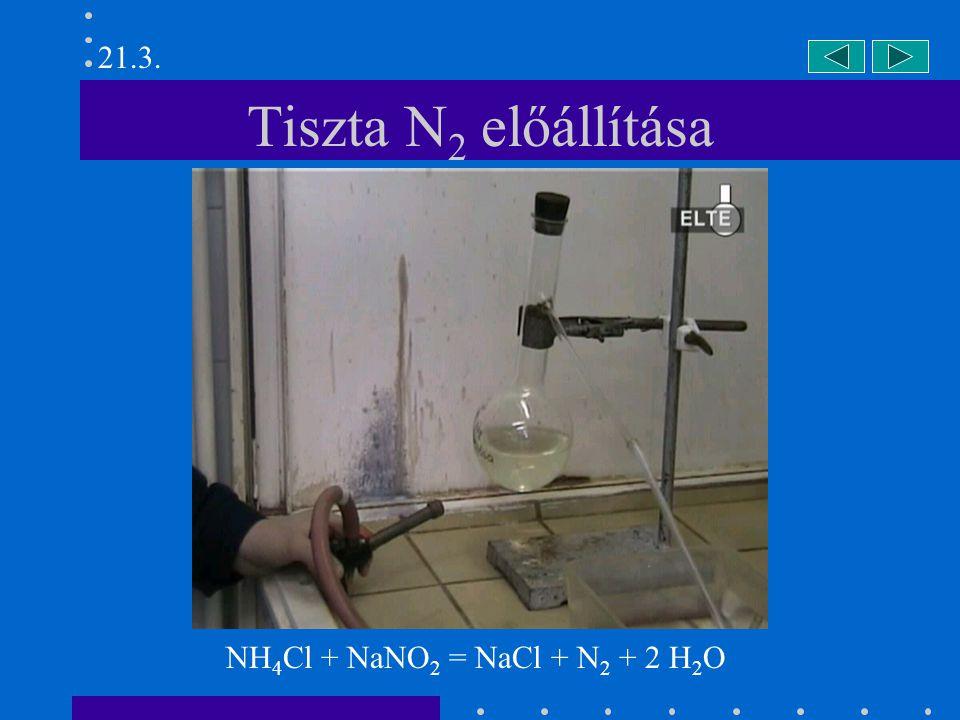 21.3. Tiszta N2 előállítása NH4Cl + NaNO2 = NaCl + N2 + 2 H2O