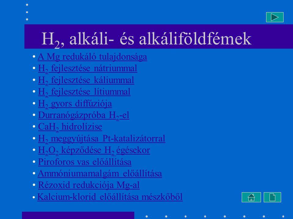 H2, alkáli- és alkáliföldfémek
