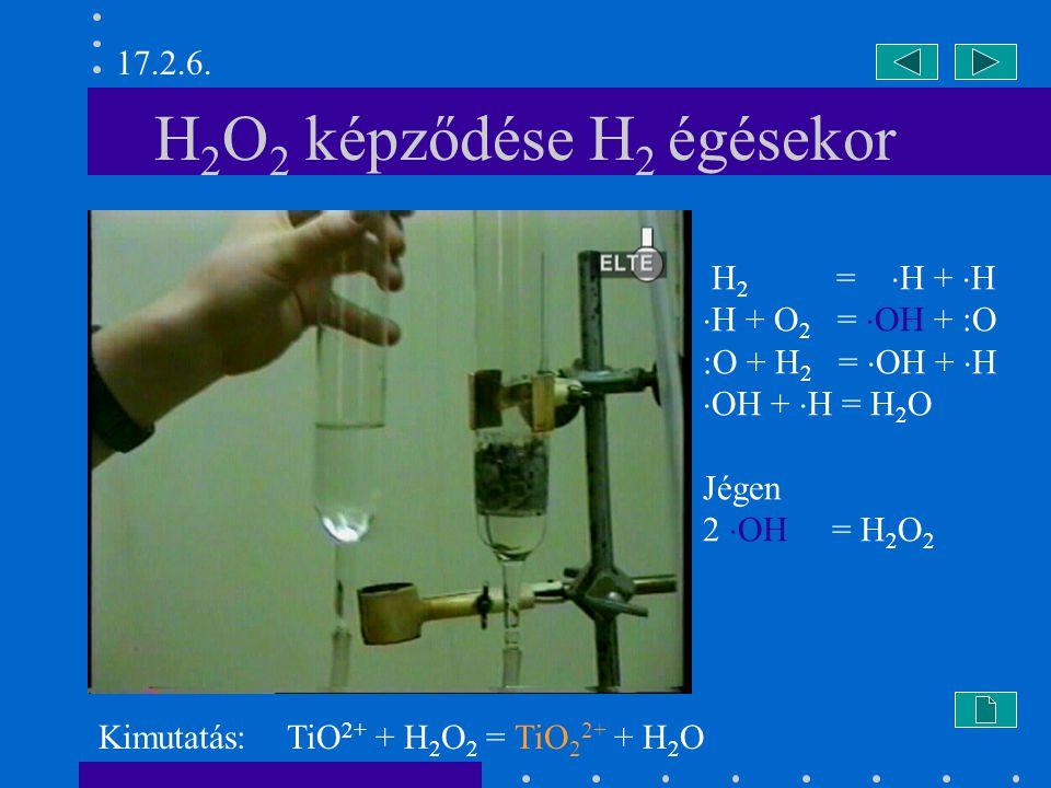 H2O2 képződése H2 égésekor