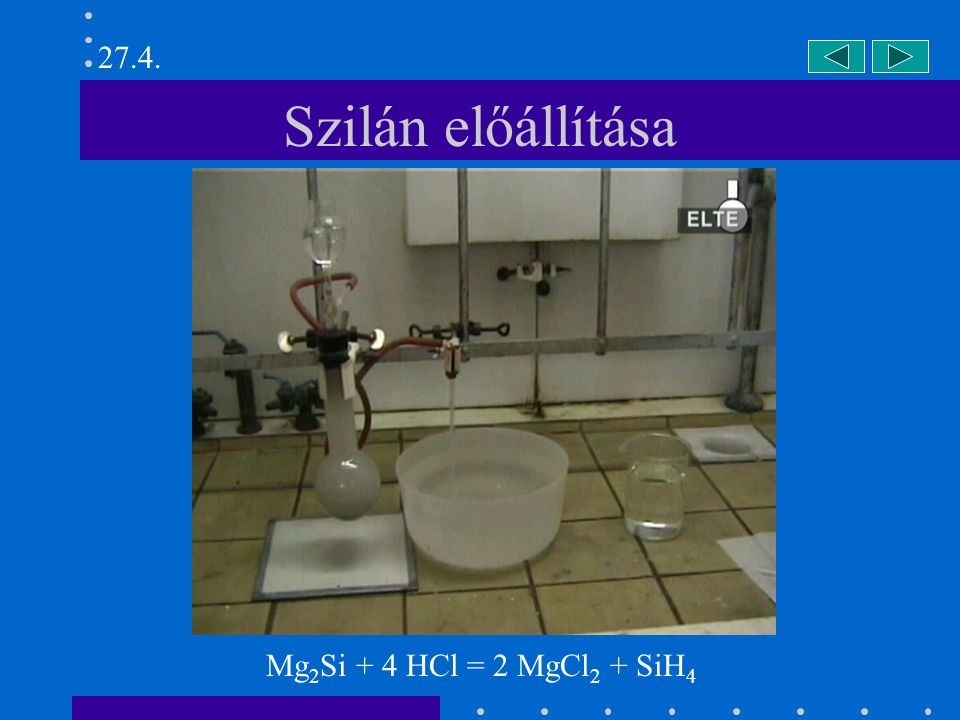 27.4. Szilán előállítása Mg2Si + 4 HCl = 2 MgCl2 + SiH4