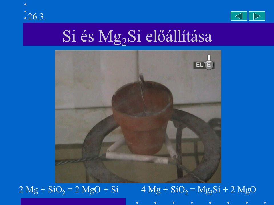 26.3. Si és Mg2Si előállítása 2 Mg + SiO2 = 2 MgO + Si 4 Mg + SiO2 = Mg2Si + 2 MgO