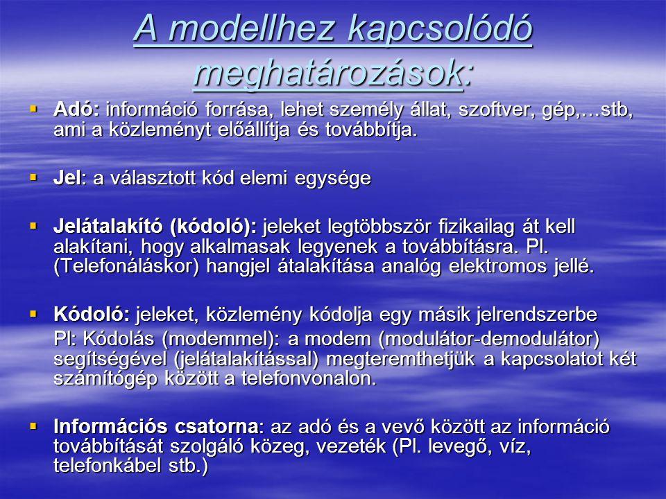 A modellhez kapcsolódó meghatározások: