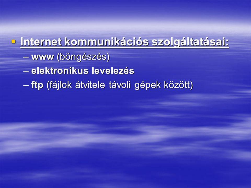 Internet kommunikációs szolgáltatásai: