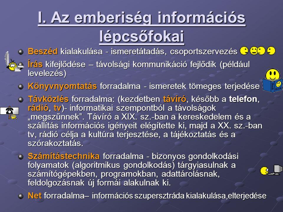 I. Az emberiség információs lépcsőfokai