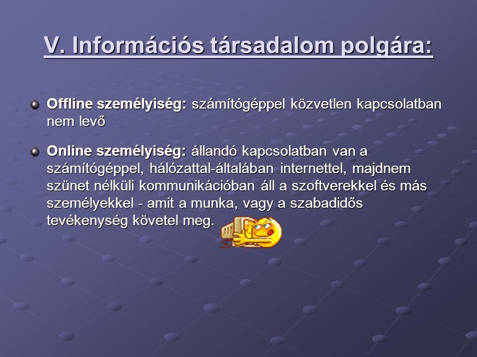 V. Információs társadalom polgára: