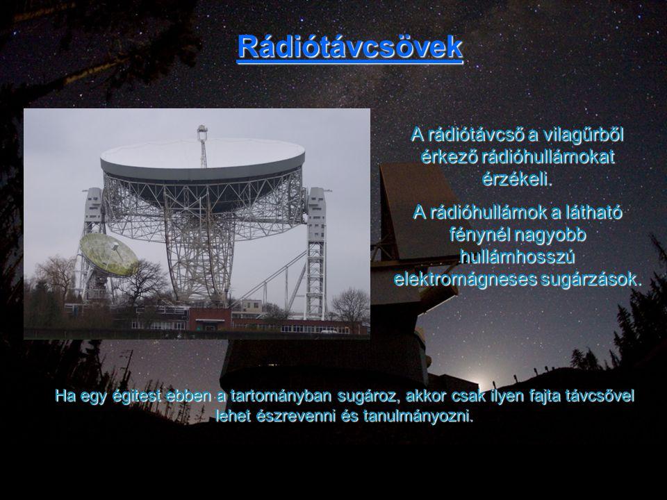 A rádiótávcső a vilagűrből érkező rádióhullámokat érzékeli.