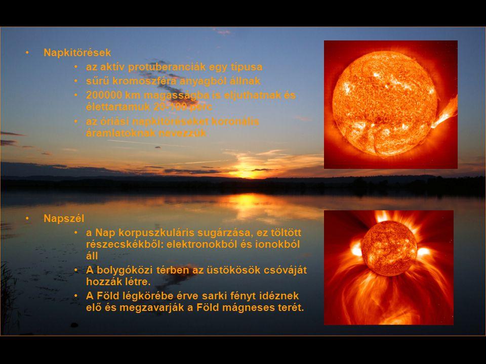 Napkitörések az aktív protuberanciák egy típusa. sűrű kromoszféra anyagból állnak. 200000 km magasságba is eljuthatnak és élettartamuk 20-100 perc.