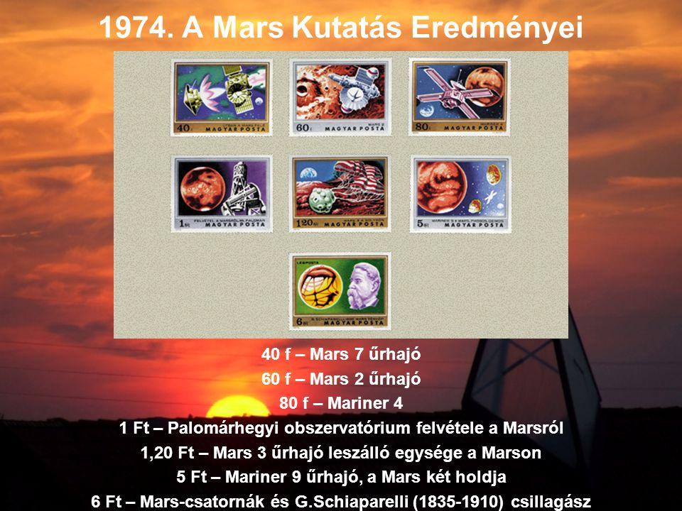 1974. A Mars Kutatás Eredményei