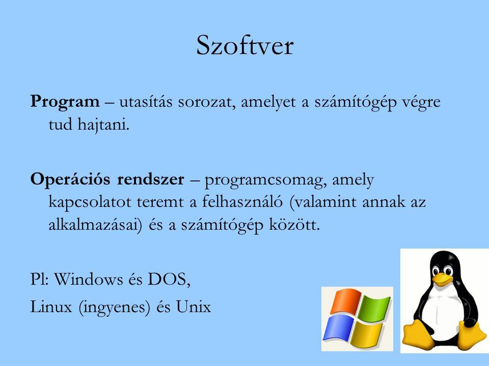 Szoftver Program – utasítás sorozat, amelyet a számítógép végre tud hajtani.