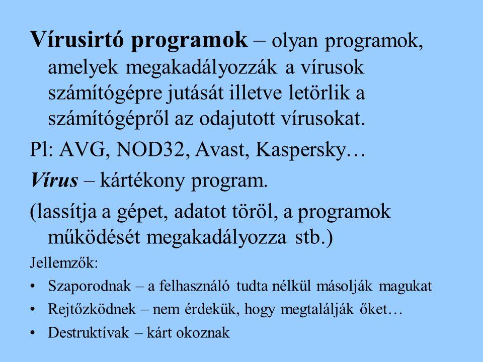 Vírusirtó programok – olyan programok, amelyek megakadályozzák a vírusok számítógépre jutását illetve letörlik a számítógépről az odajutott vírusokat.