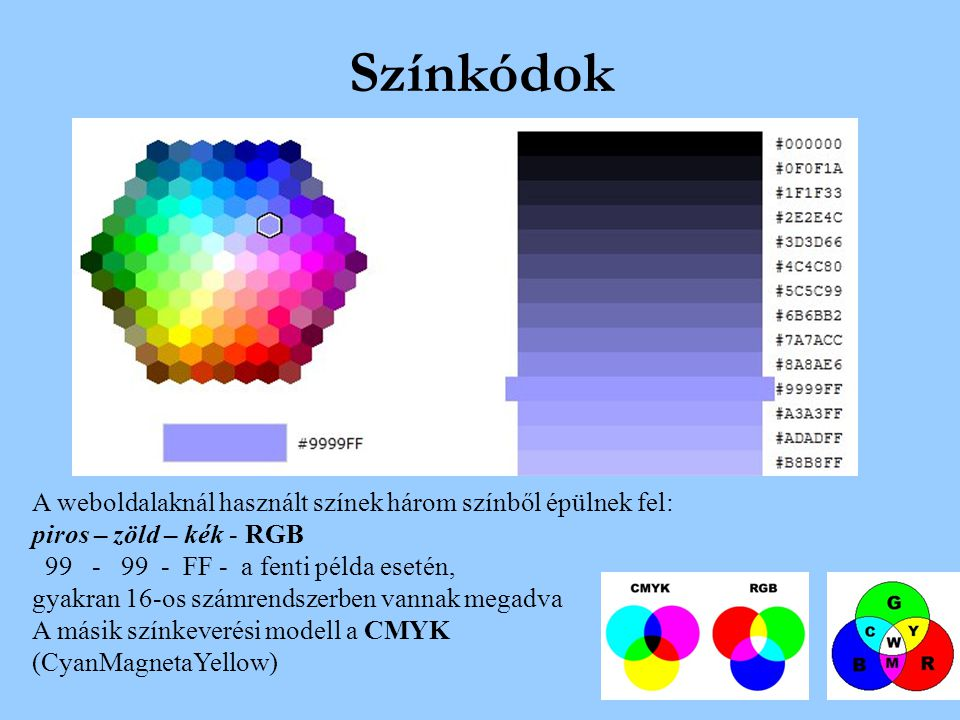 Színkódok A weboldalaknál használt színek három színből épülnek fel: