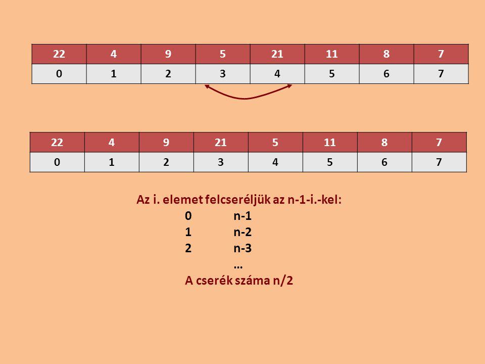 Az i. elemet felcseréljük az n-1-i.-kel: 0 n-1 1 n-2 2 n-3 …