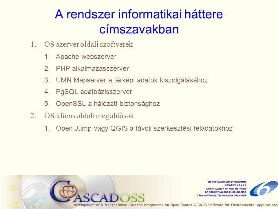A rendszer informatikai háttere címszavakban