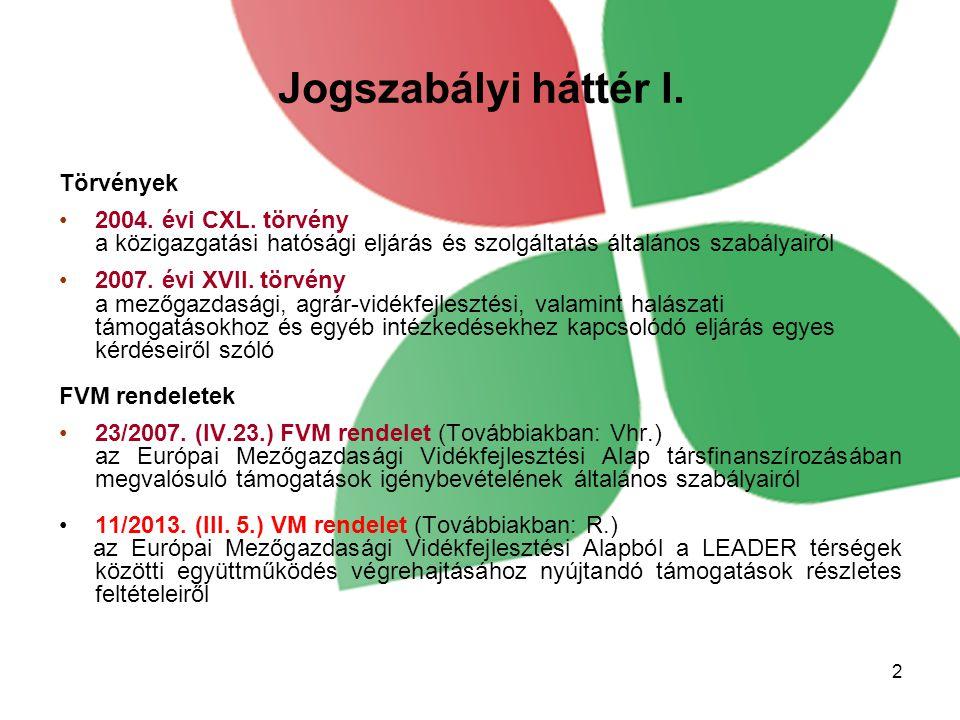 Jogszabályi háttér I. Törvények 2004. évi CXL. törvény