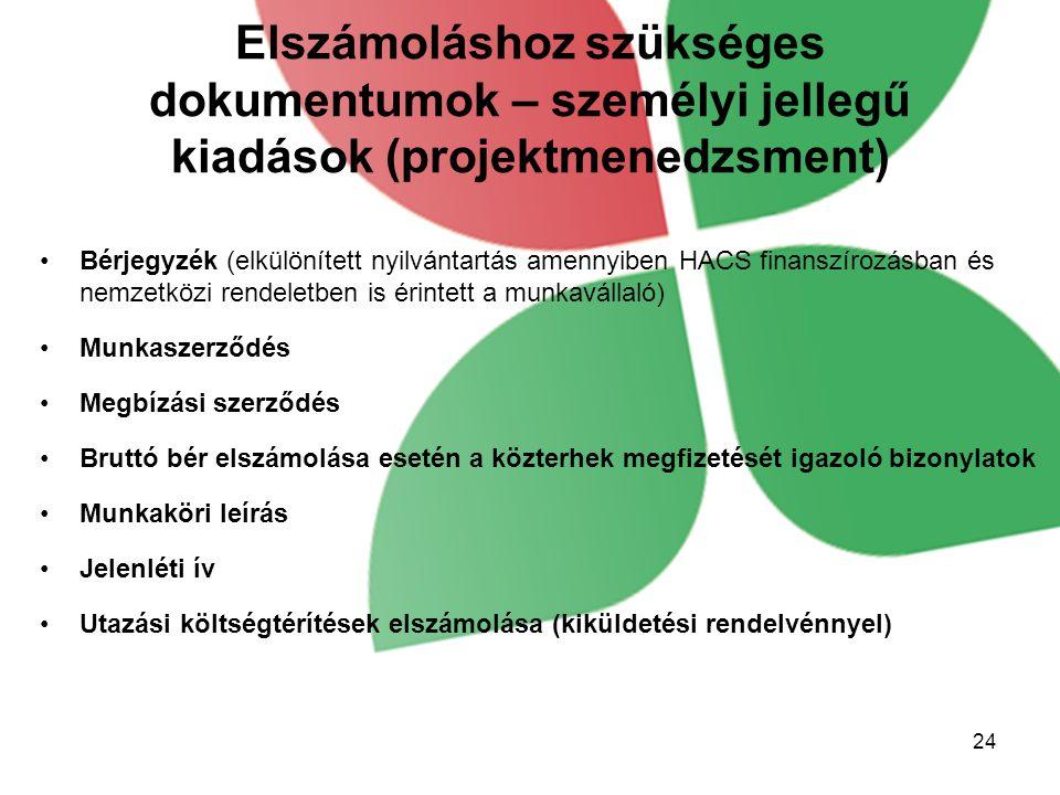 Elszámoláshoz szükséges dokumentumok – személyi jellegű kiadások (projektmenedzsment)
