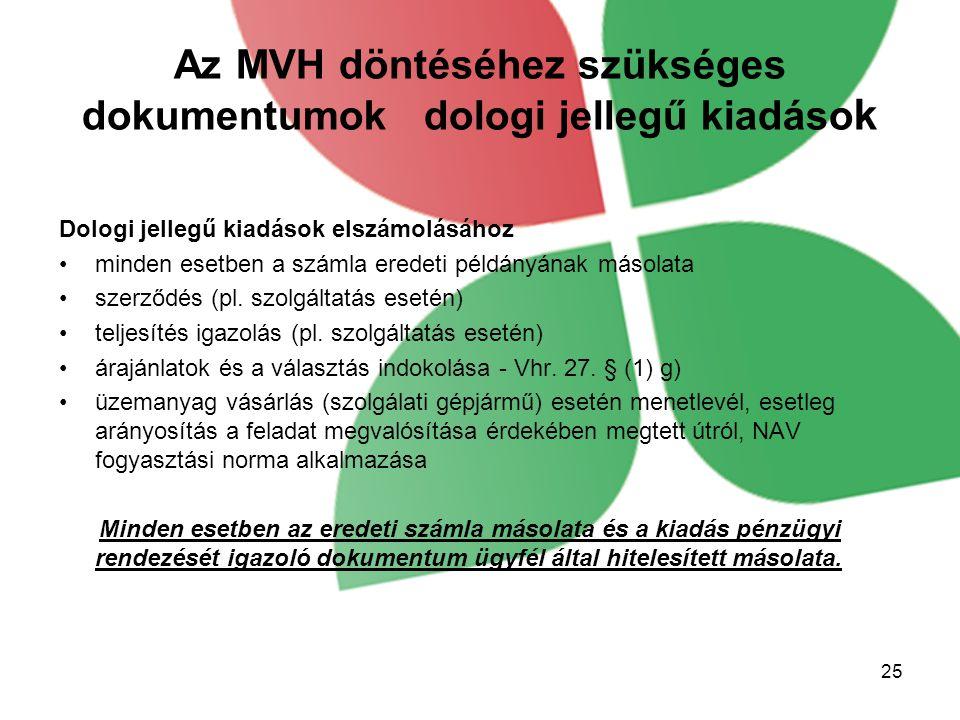Az MVH döntéséhez szükséges dokumentumok dologi jellegű kiadások