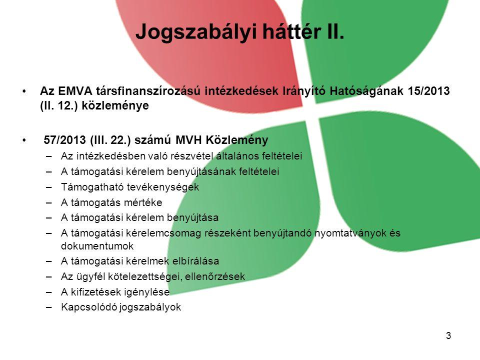 Jogszabályi háttér II. Az EMVA társfinanszírozású intézkedések Irányító Hatóságának 15/2013 (II. 12.) közleménye.