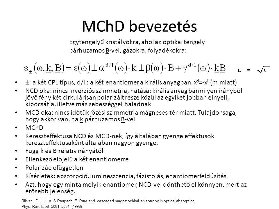 MChD bevezetés Egytengelyű kristályokra, ahol az optikai tengely párhuzamos B-vel, gázokra, folyadékokra:
