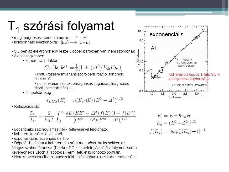 T1 szórási folyamat exponenciális Al mag mágneses momentumra: m m±1