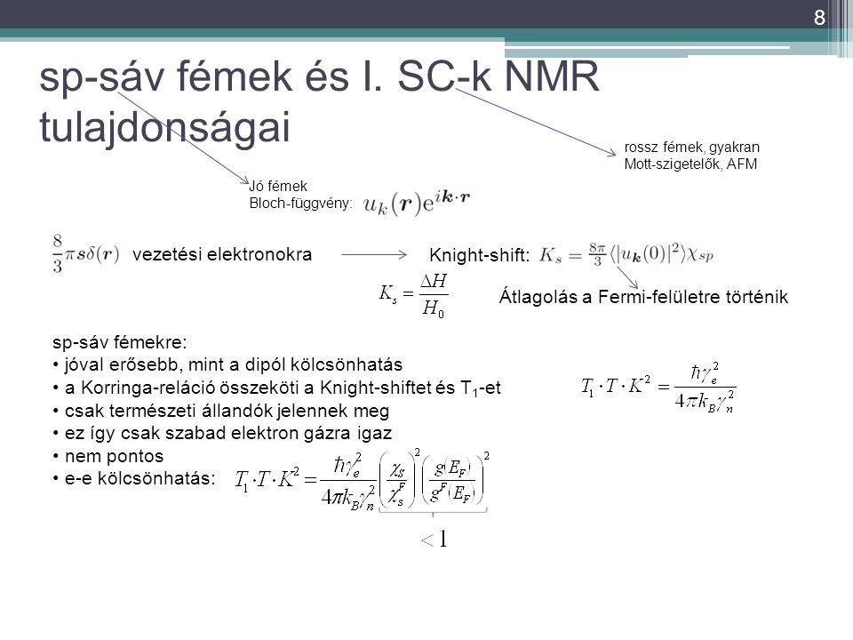 sp-sáv fémek és I. SC-k NMR tulajdonságai