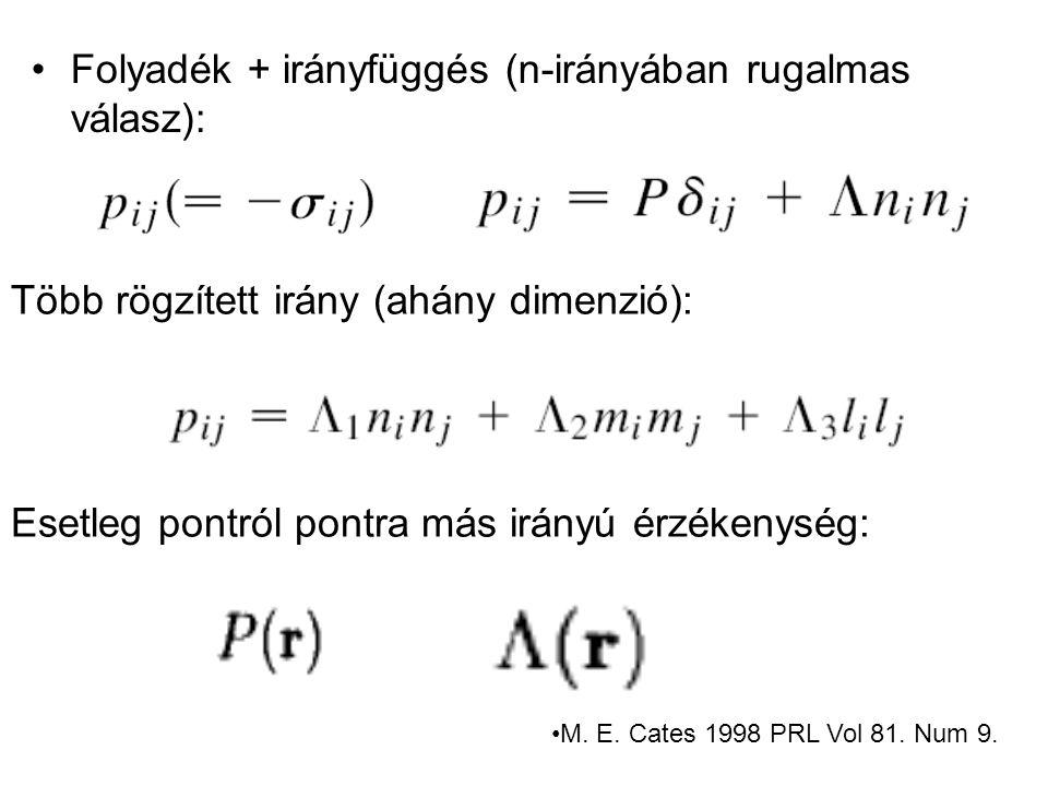 Folyadék + irányfüggés (n-irányában rugalmas válasz):