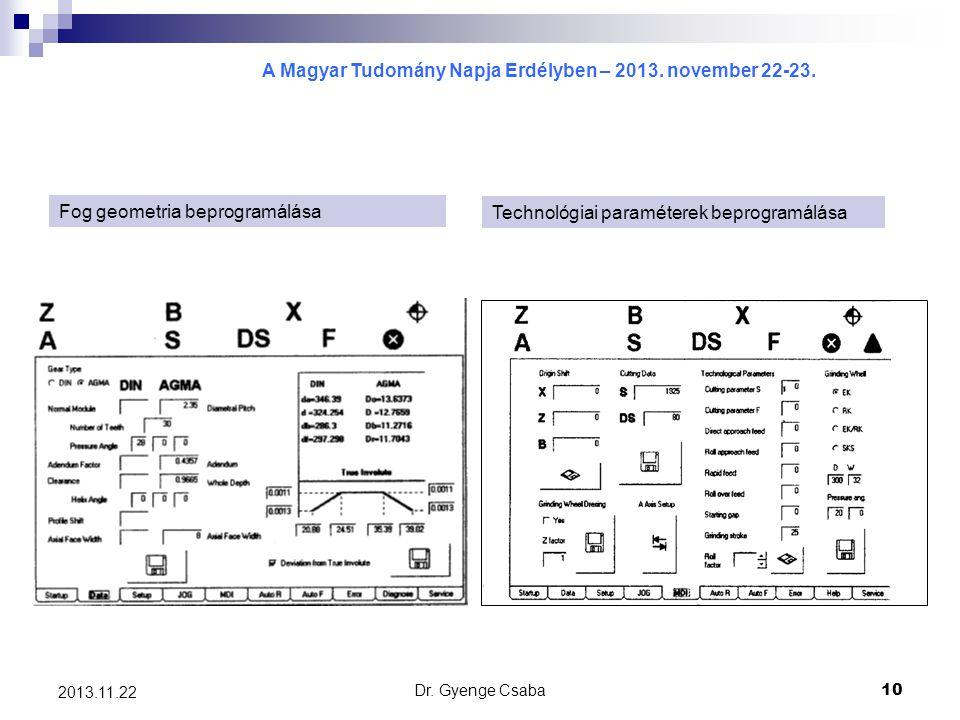 Fog geometria beprogramálása Technológiai paraméterek beprogramálása