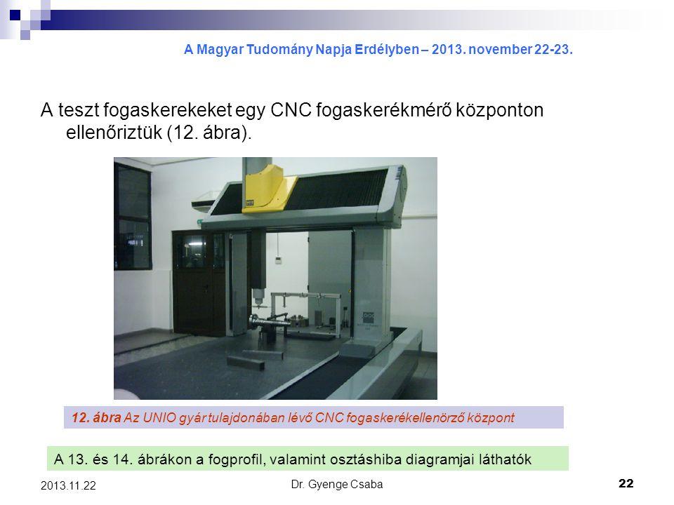A teszt fogaskerekeket egy CNC fogaskerékmérő központon ellenőriztük (12. ábra).