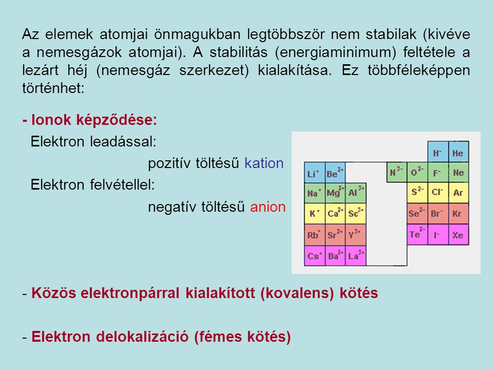 Az elemek atomjai önmagukban legtöbbször nem stabilak (kivéve a nemesgázok atomjai). A stabilitás (energiaminimum) feltétele a lezárt héj (nemesgáz szerkezet) kialakítása. Ez többféleképpen történhet: