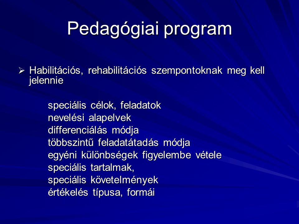 Pedagógiai program Habilitációs, rehabilitációs szempontoknak meg kell jelennie. speciális célok, feladatok.