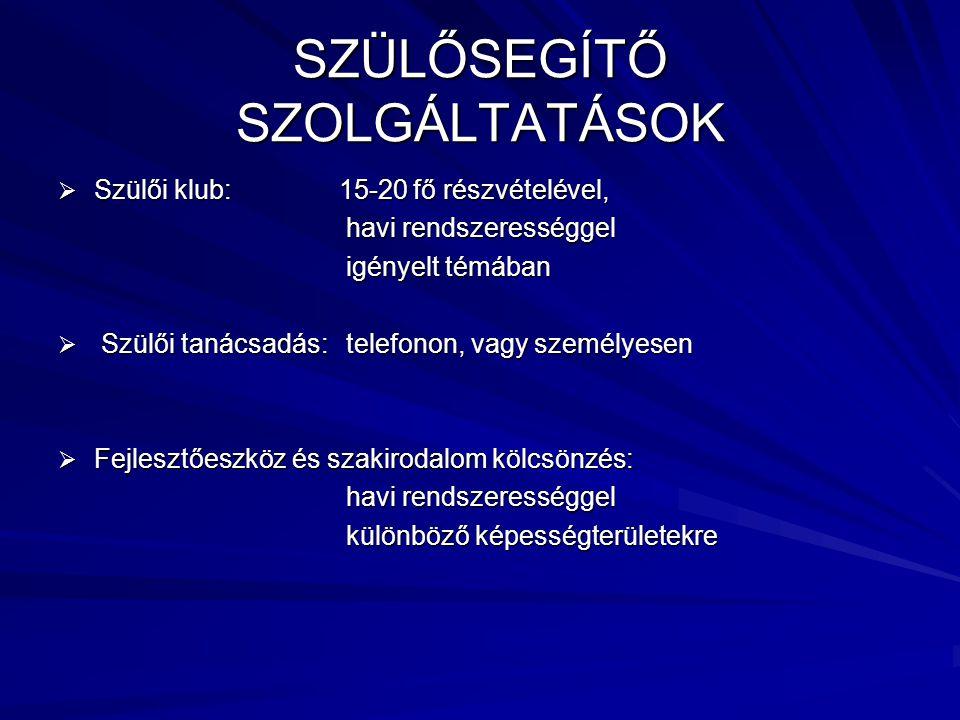 SZÜLŐSEGÍTŐ SZOLGÁLTATÁSOK