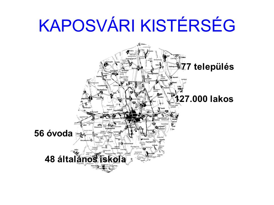 KAPOSVÁRI KISTÉRSÉG 77 település 127.000 lakos 56 óvoda