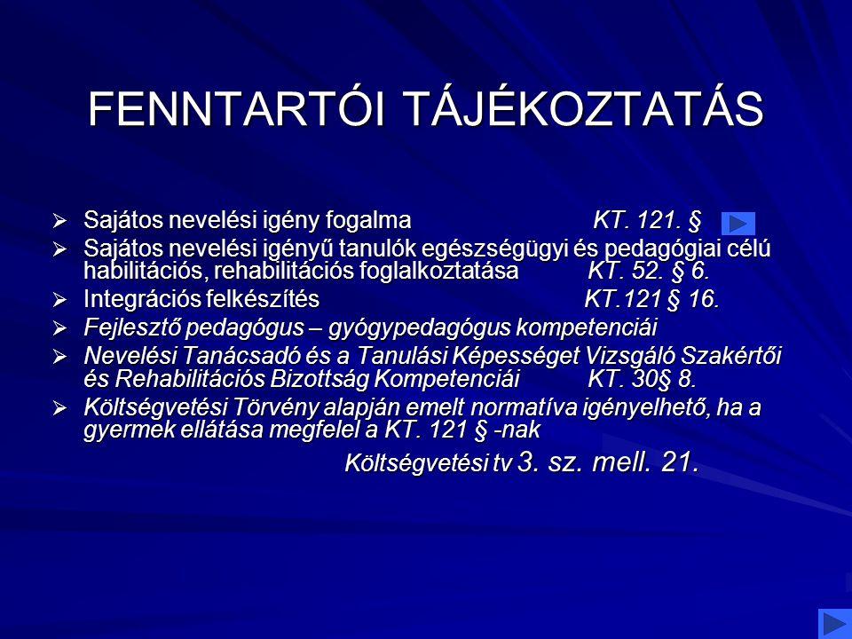 FENNTARTÓI TÁJÉKOZTATÁS