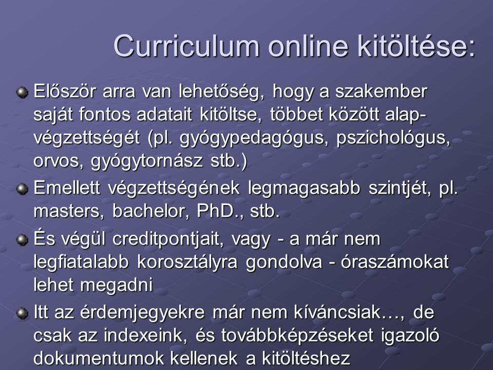 Curriculum online kitöltése: