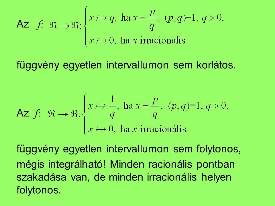 Az f: függvény egyetlen intervallumon sem korlátos. Az f: függvény egyetlen intervallumon sem folytonos,