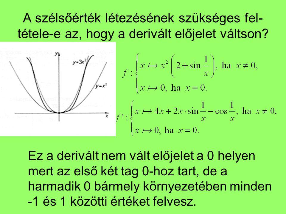 A szélsőérték létezésének szükséges fel-tétele-e az, hogy a derivált előjelet váltson