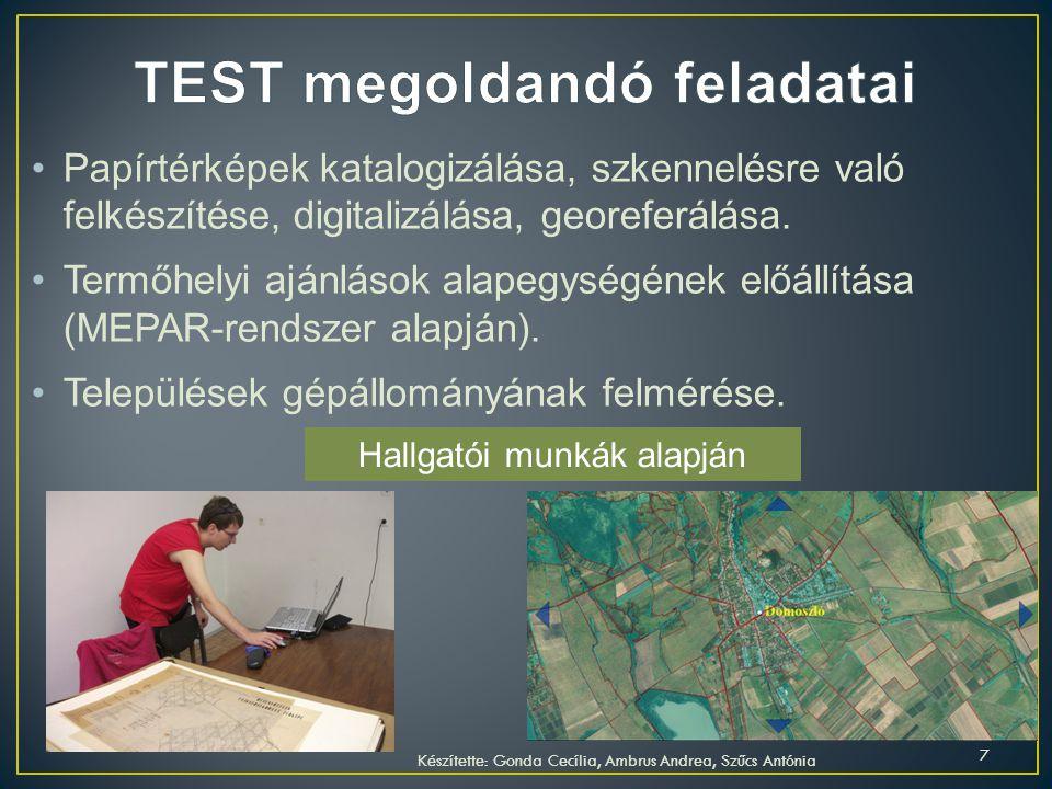TEST megoldandó feladatai
