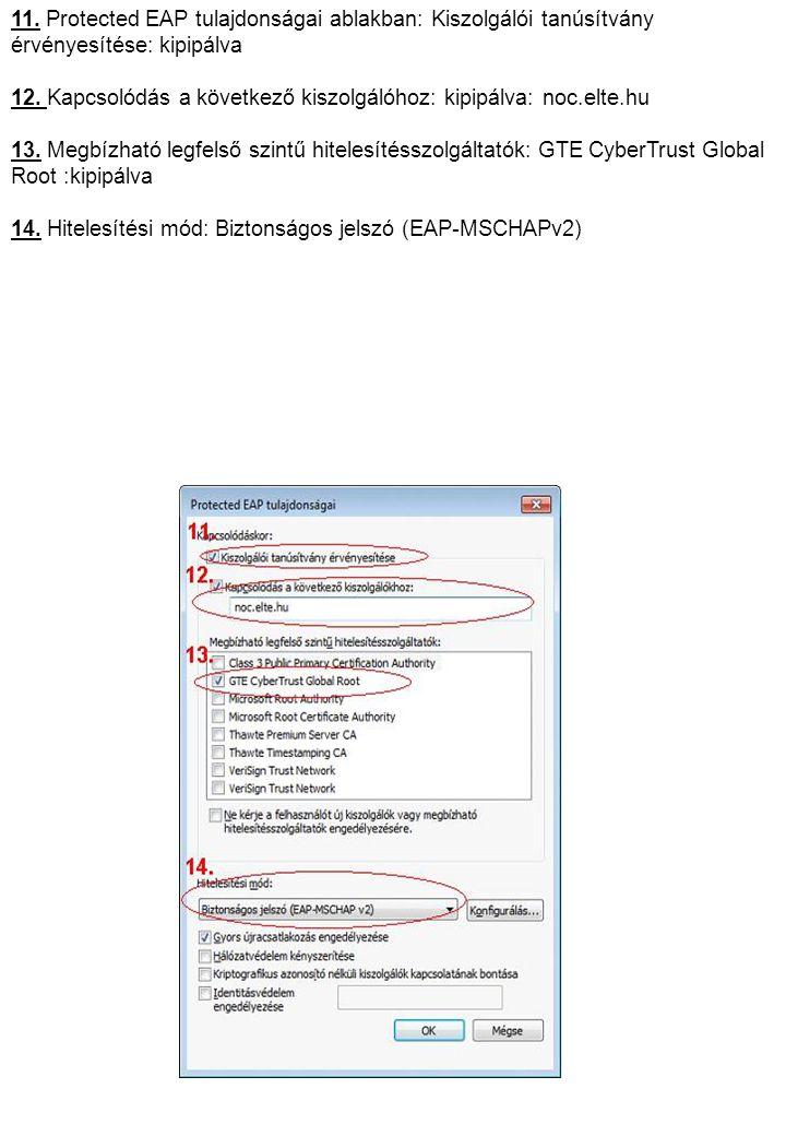11. Protected EAP tulajdonságai ablakban: Kiszolgálói tanúsítvány érvényesítése: kipipálva