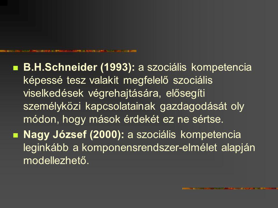 B.H.Schneider (1993): a szociális kompetencia képessé tesz valakit megfelelő szociális viselkedések végrehajtására, elősegíti személyközi kapcsolatainak gazdagodását oly módon, hogy mások érdekét ez ne sértse.