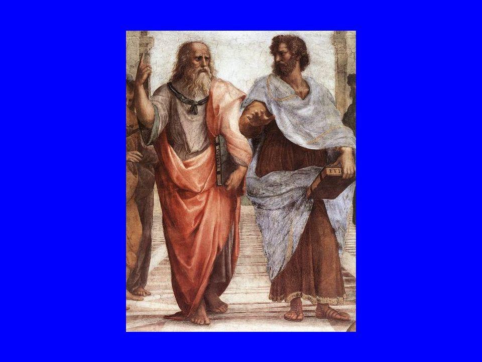 Raffaello: Az athéni iskola (részlet)-A két filozófus gondolkodásának az ellentétét mutatja: Platón felmutat az ideák égi birodalma felé, Arisztotelész ellenben, lefele mutat a földi létezőket hangsúlyozva