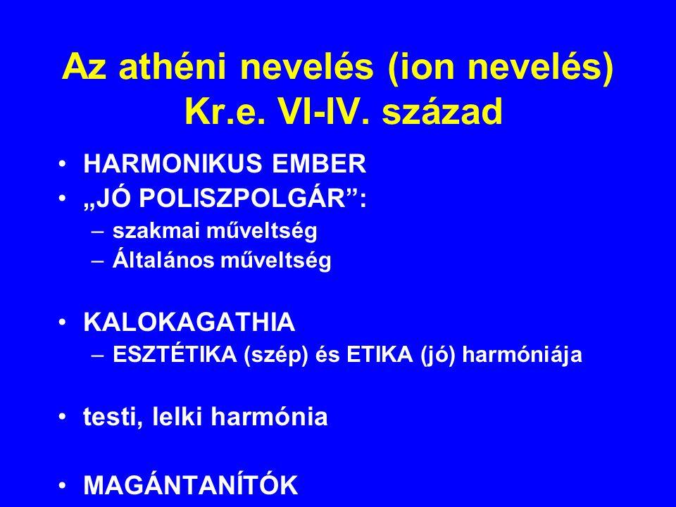 Az athéni nevelés (ion nevelés) Kr.e. VI-IV. század