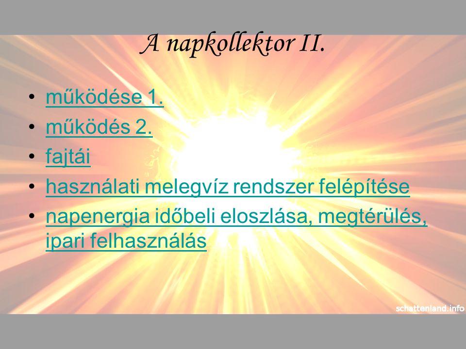 A napkollektor II. működése 1. működés 2. fajtái