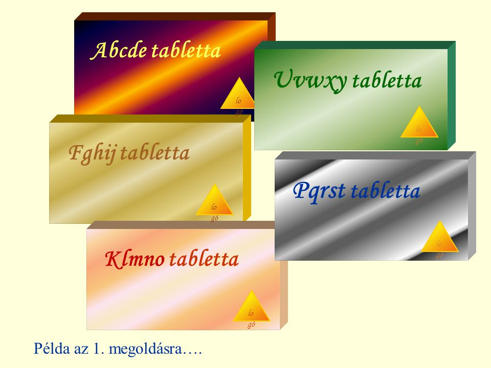 Abcde tabletta Uvwxy tabletta Fghij tabletta Pqrst tabletta