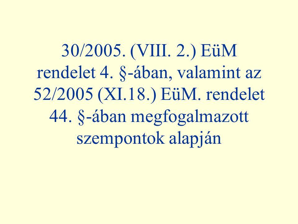 30/2005. (VIII. 2. ) EüM rendelet 4. §-ában, valamint az 52/2005 (XI