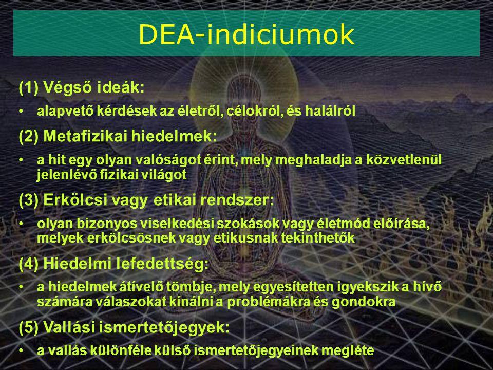 DEA-indiciumok (1) Végső ideák: (2) Metafizikai hiedelmek: