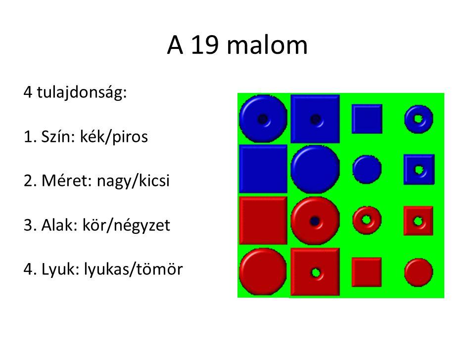 A 19 malom 4 tulajdonság: Szín: kék/piros Méret: nagy/kicsi