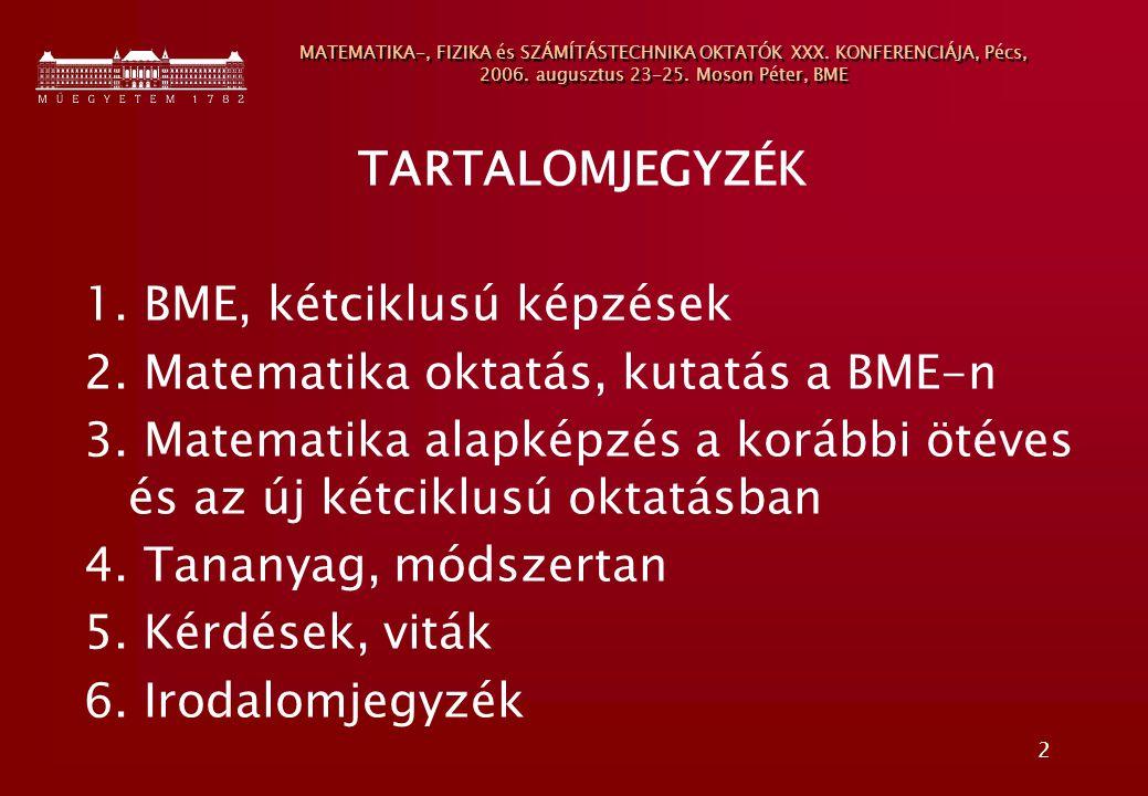 BME, kétciklusú képzések 2. Matematika oktatás, kutatás a BME-n