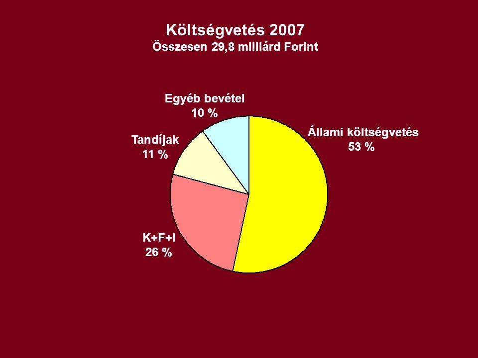 Költségvetés 2007 Összesen 29,8 milliárd Forint