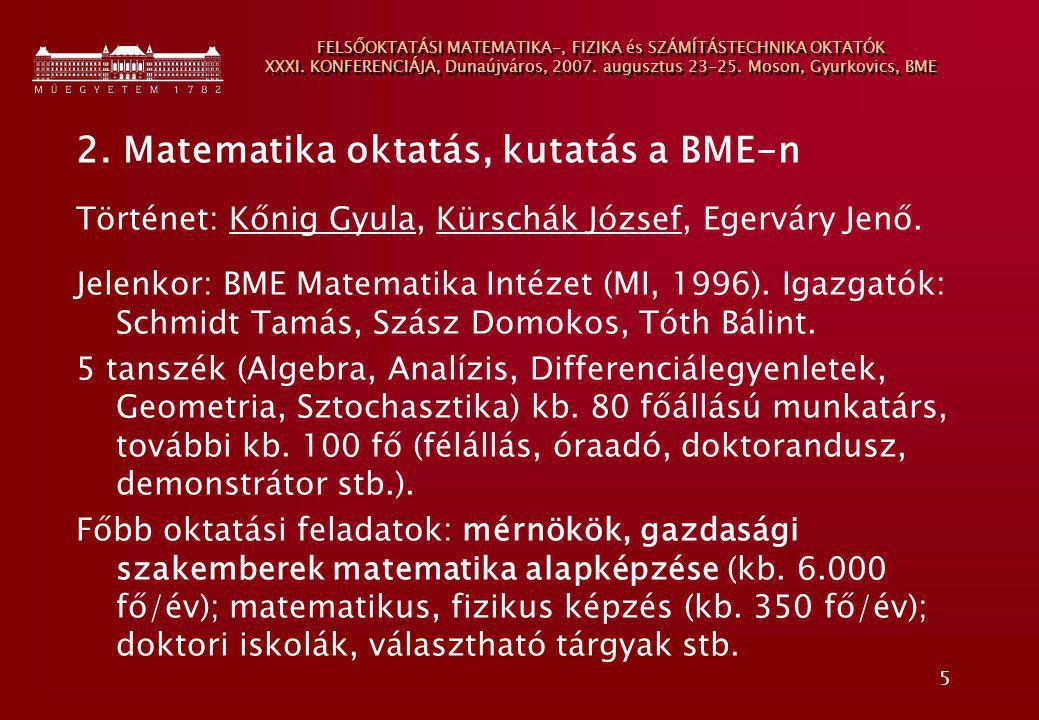 2. Matematika oktatás, kutatás a BME-n